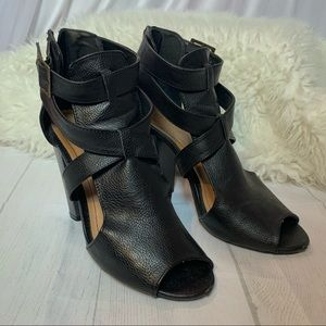 Bamboo Strappy Peep Toe Black Booties 7 1/2